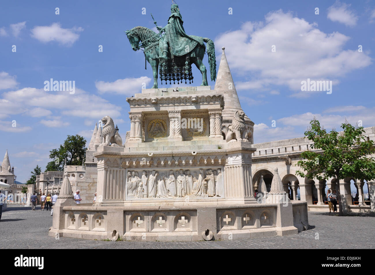 A  statue of Stephen I of Hungary mounted on a horse, located at Fisherman's Bastion, Castle Hill, Budapest. Stock Photo