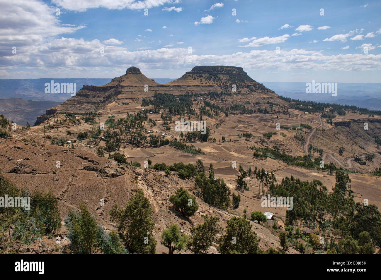 typical highland scenery near Lalibela, Ethiopia - Stock Image