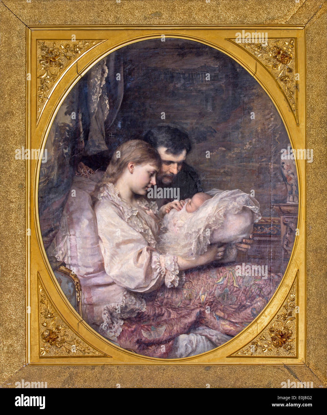 'The Family's lack' by Leopold Horowitz (1885) in Bulgarian saloon in palace Saint Anton. - Stock Image