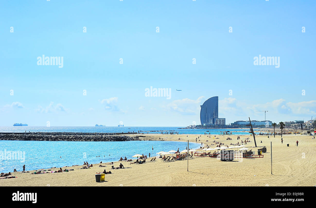 Barcelona city beach. 400 meters long, it is one of 10 best urban beaches of the world. - Stock Image
