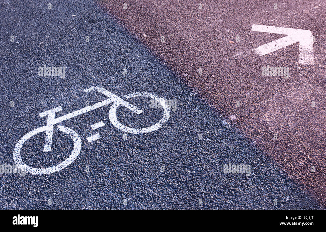 Sign painted on road indicating cycle lane. - Stock Image