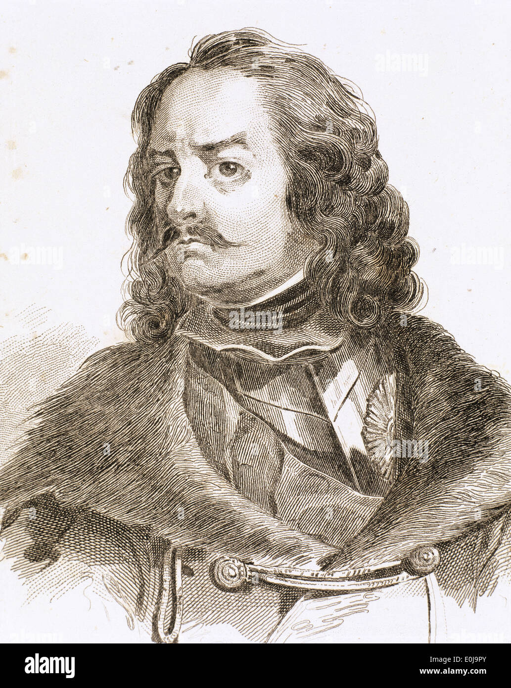 Peter the Great (1672-1725). Emperor of All Russia. House of Romanov. Engraving, 19th century. - Stock Image