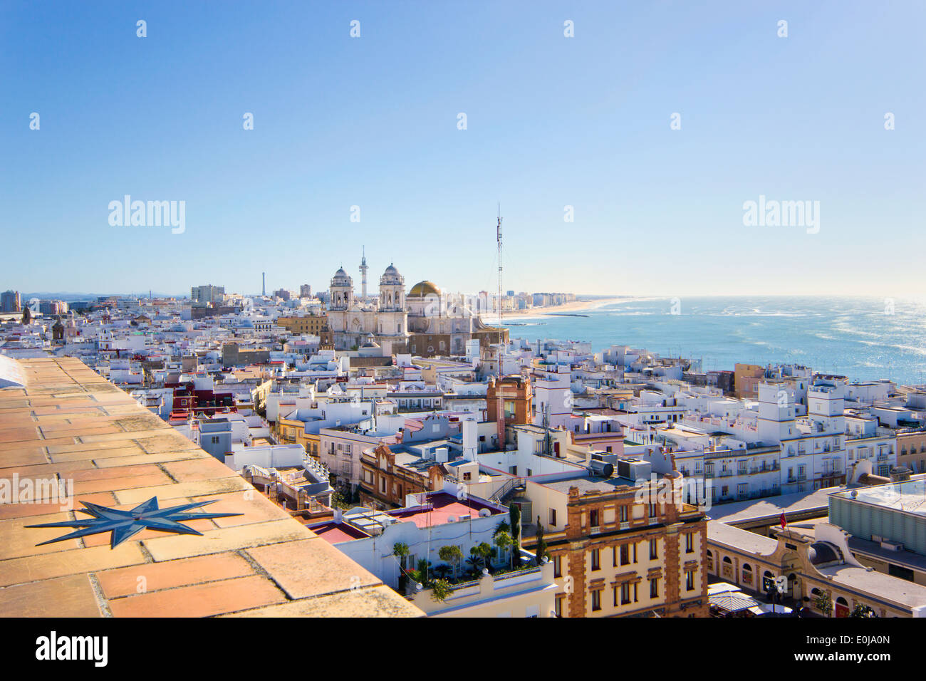 Cadiz, Costa de la Luz, Andalucia, Spain. Overall view of the city from La Torre Tavira, or The Tavira Tower. - Stock Image