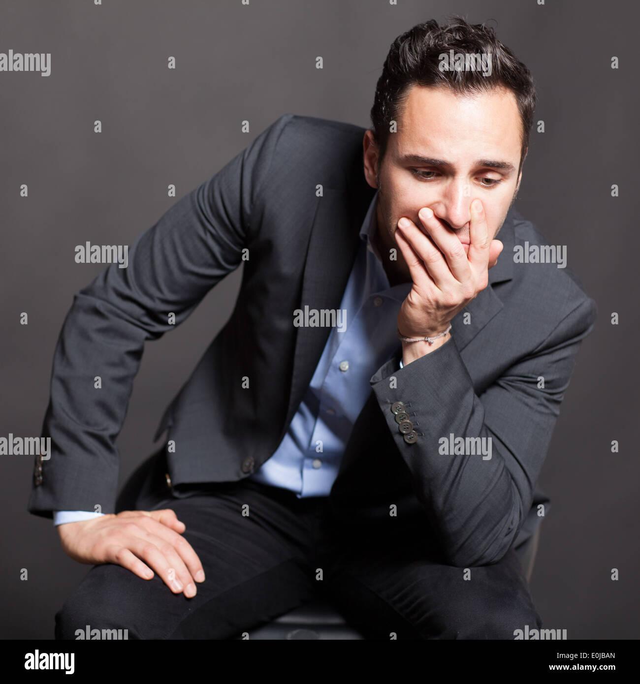 Man with depression - Stock Image