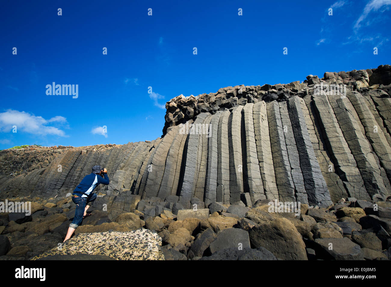 Columnar Joint in Penghu Islands - Stock Image