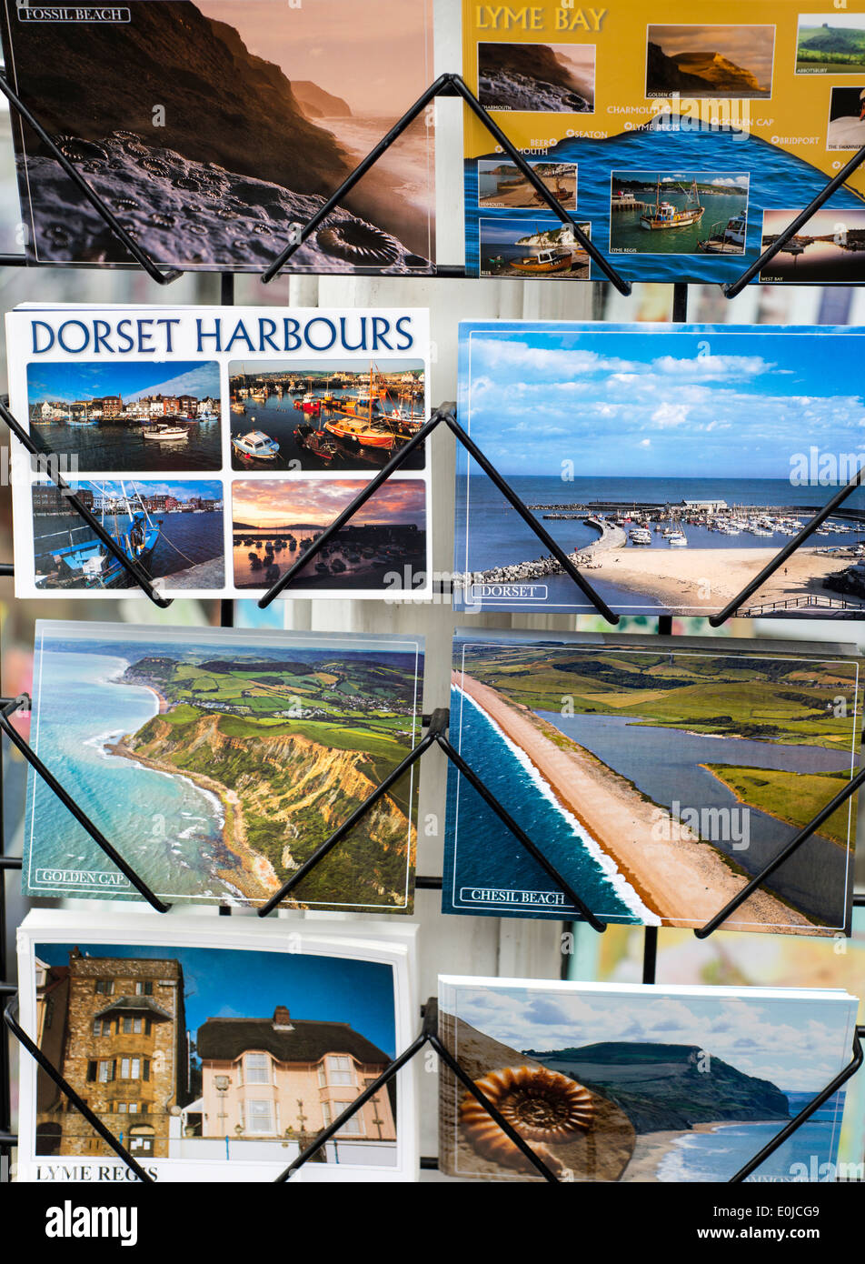 Souvenir postcards of Dorset in England - Stock Image