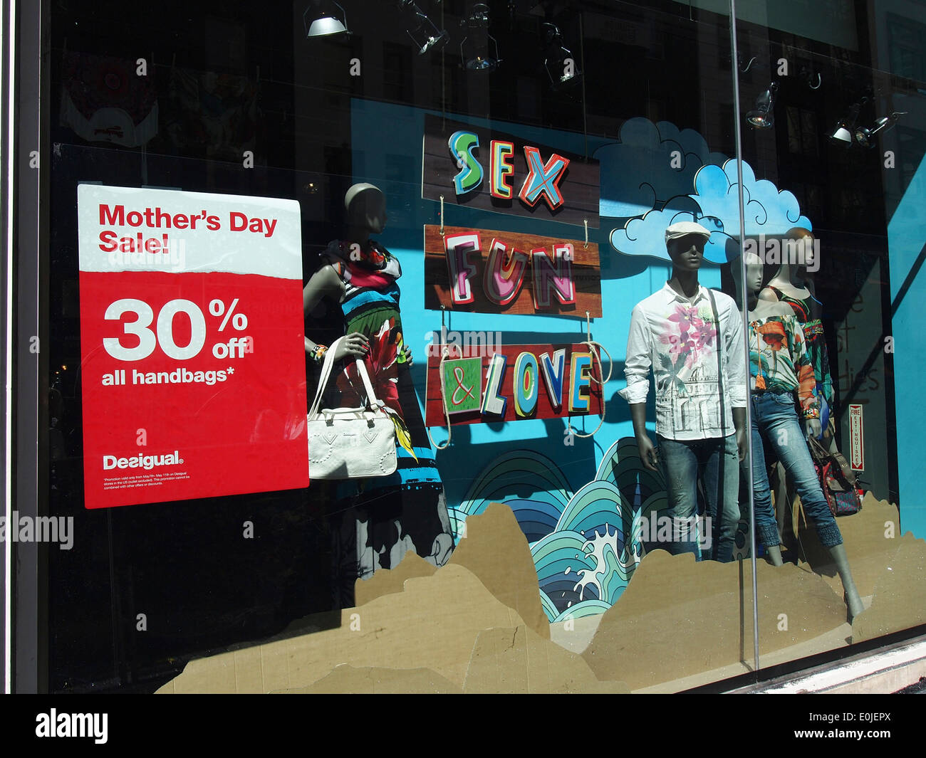 Mother's Day Sale sign, Desigual store - Stock Image