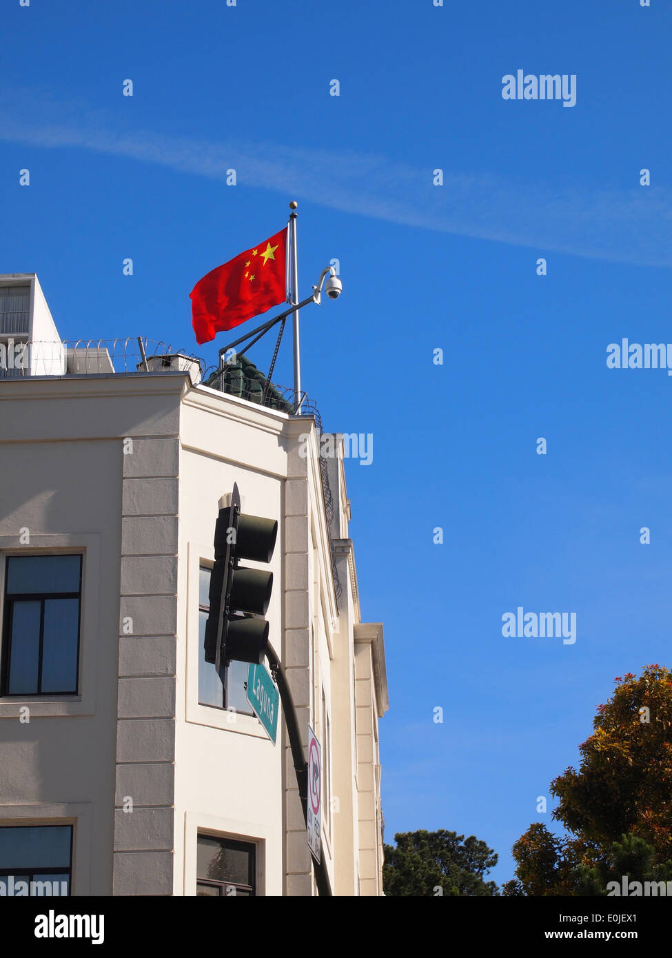 Flag of the People's Republic of China on Chinese Consulate General Building San Francisco - Stock Image