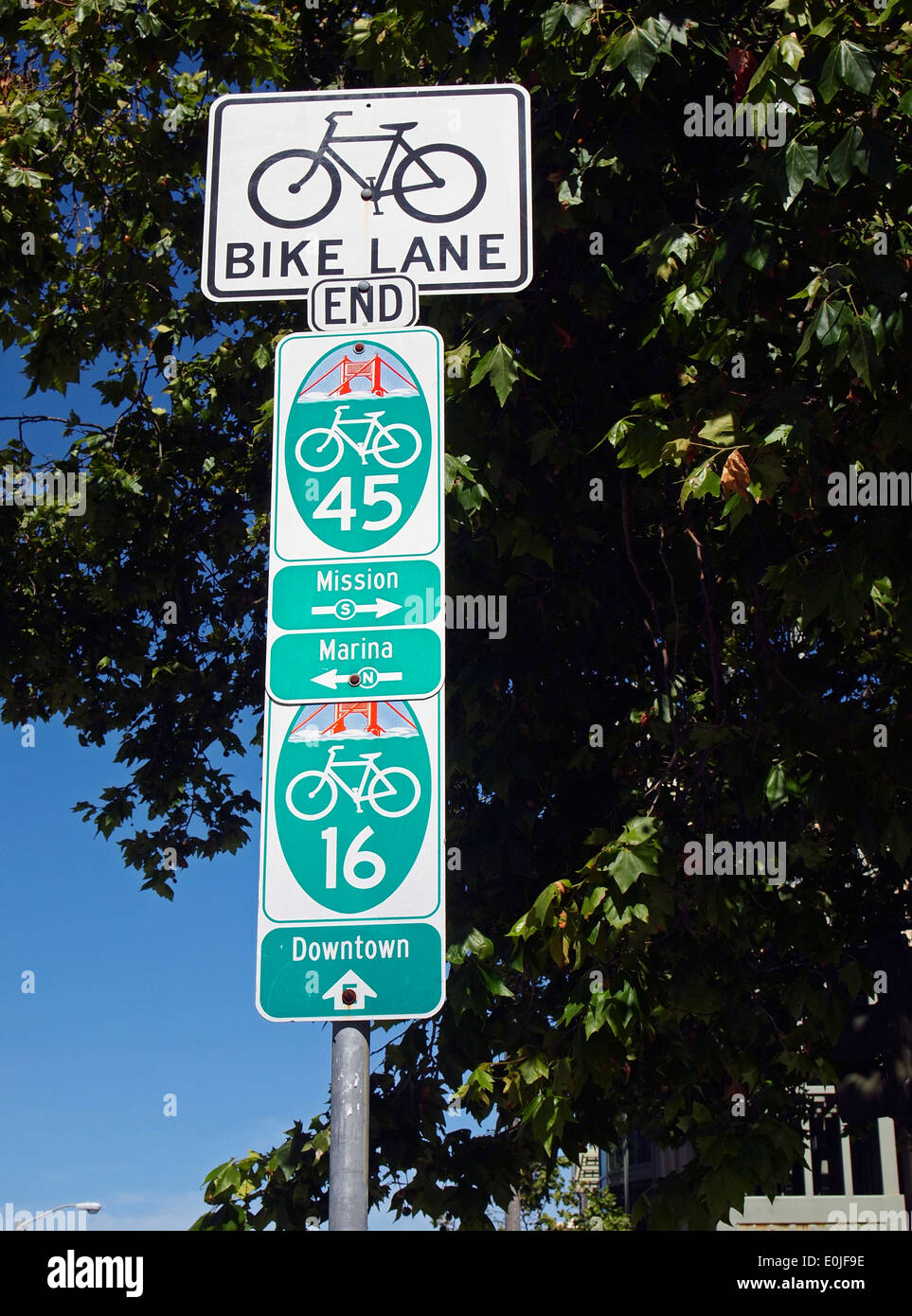 Bike lane direction signs San Francisco - Stock Image