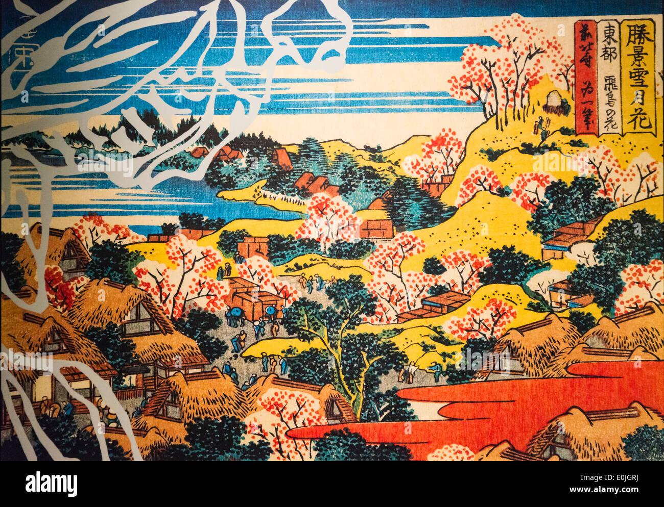 Ukiyo-e landscape painting, Japan - Stock Image