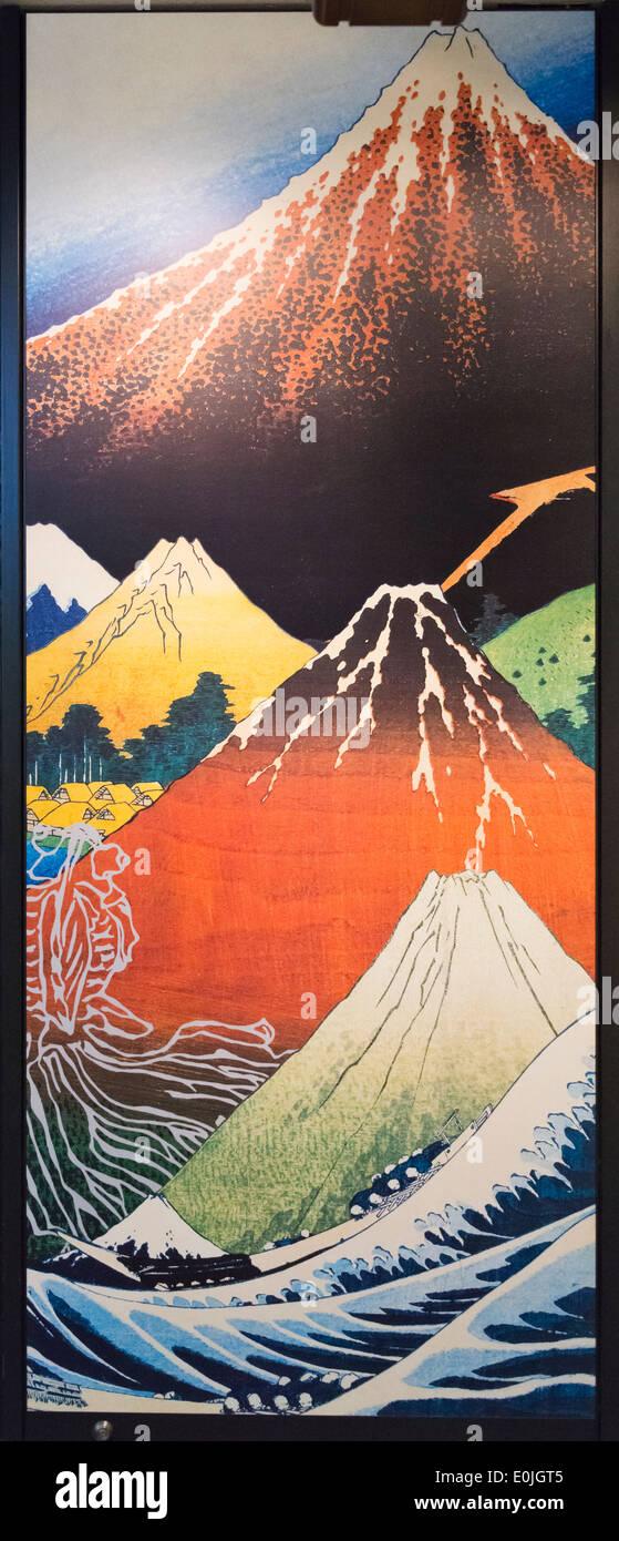Ukiyo-e landscape painting depicting mountain, Japan - Stock Image
