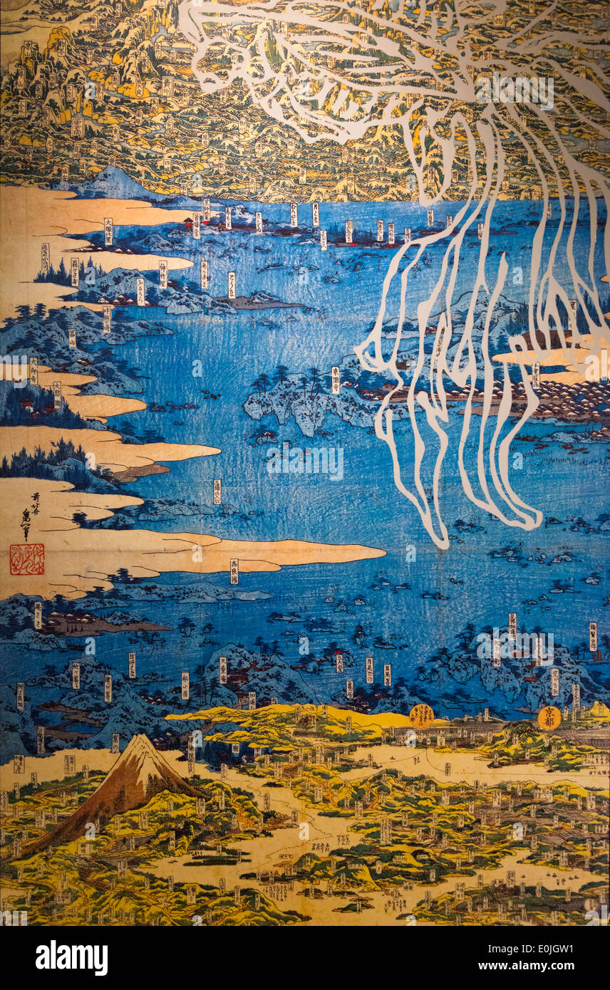 Ukiyo-e landscape painting depicting historic map in the old days, Japan - Stock Image