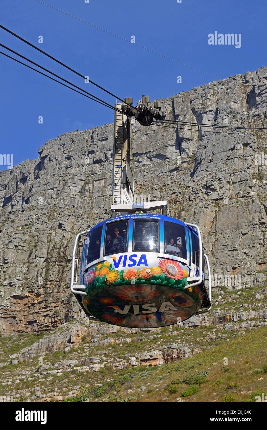 Gondeln der Seilbahn zum Tafelberg, Kapstadt, West Kap, Western Cape, Suedafrika, Afrika - Stock Image