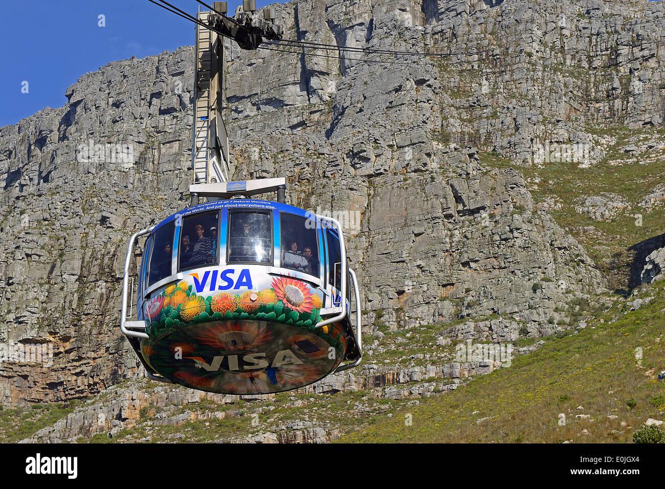 Gondel der Seilbahn zum Tafelberg, Kapstadt, West Kap, Western Cape, Suedafrika, Afrika - Stock Image