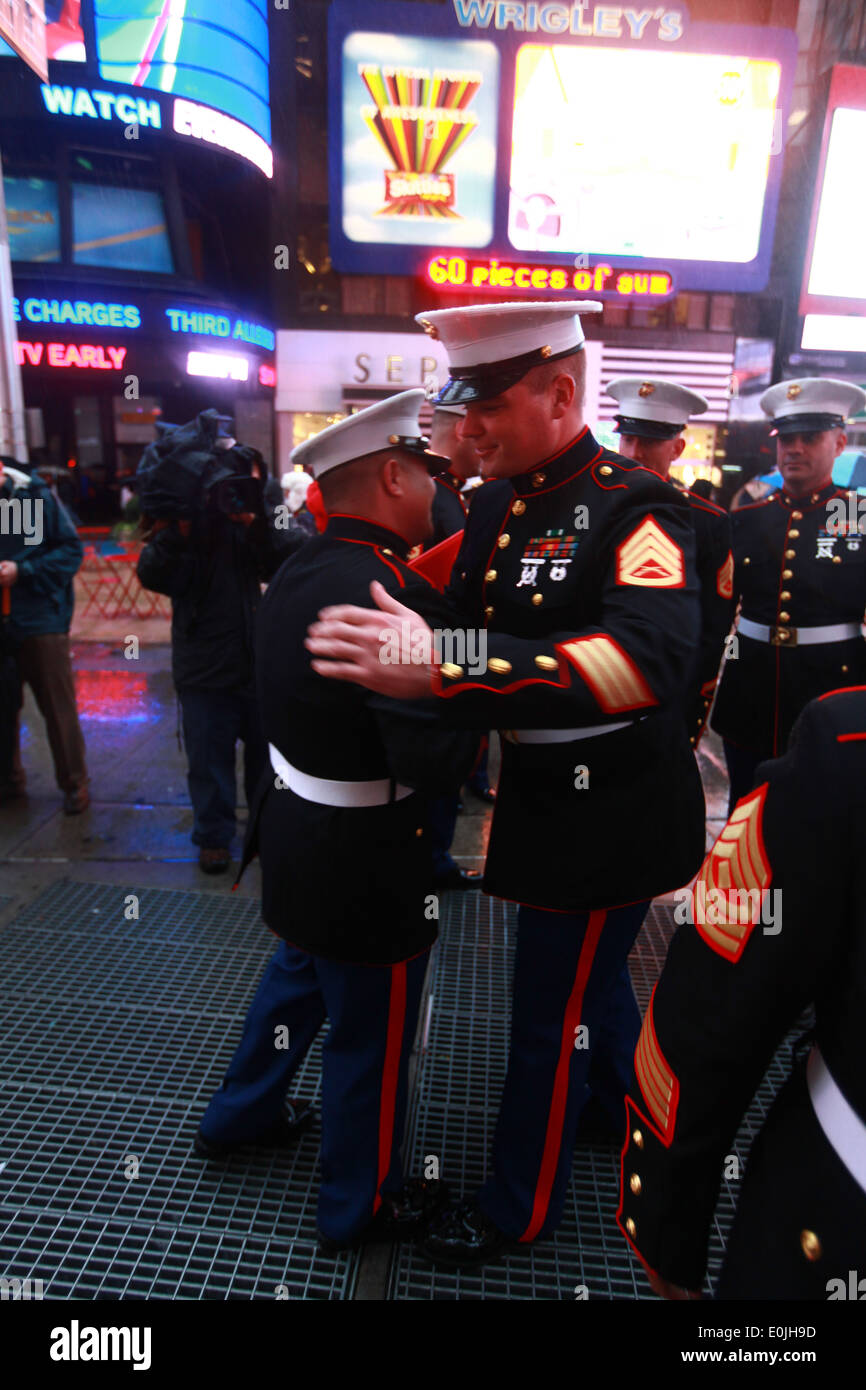 NEW YORK -- Marines congratulated Staff Sergeant Daniel Valdes, a Grass Valley, Calif., native, after receiving the Meritorious - Stock Image