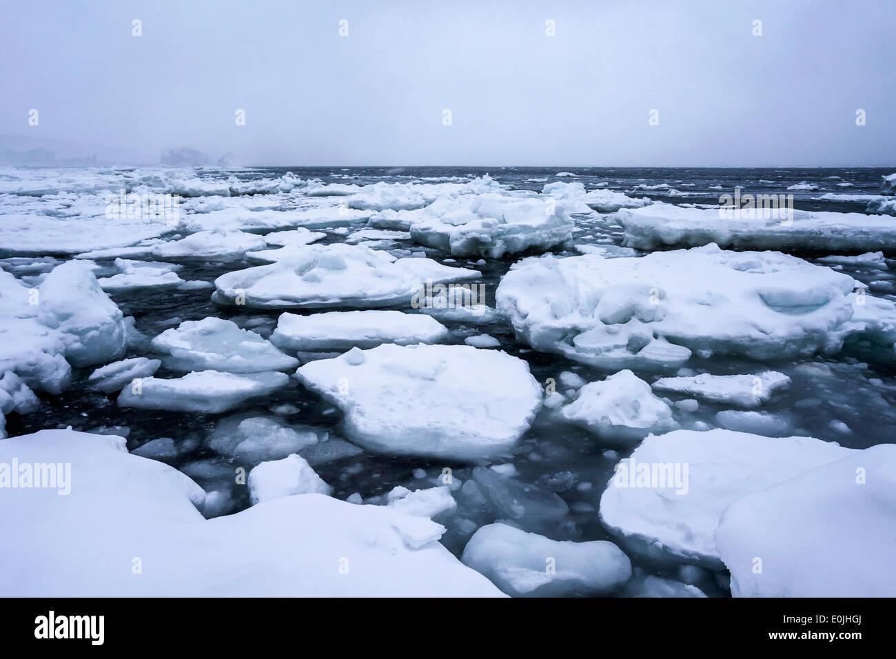 Draft ice on sea in Japan - Stock Image