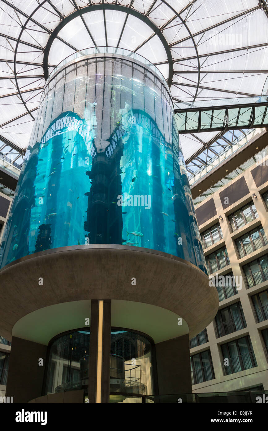 Massive blue aquarium in the Radisson Blu Hotel in Berlin, Germany. - Stock Image