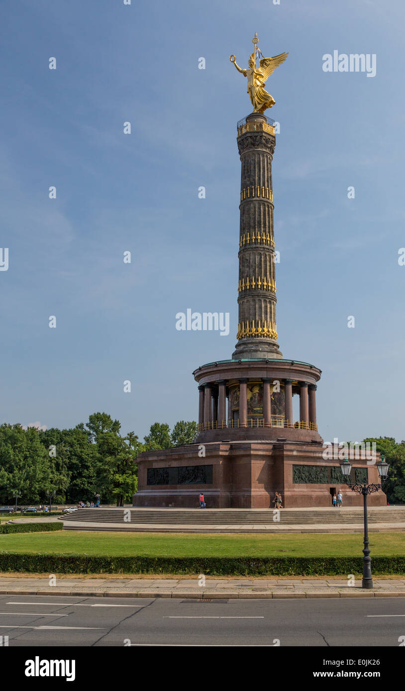 The Victory Column, a 67 meter monument in Berlin, Germany commemorates the Prussian victory in the Danish-Prussian War. - Stock Image