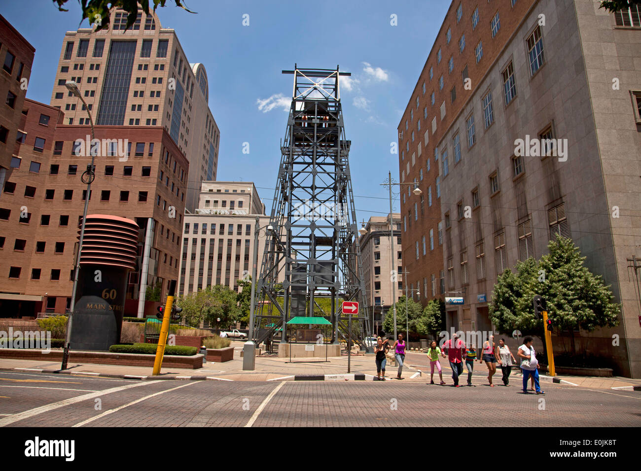 monument at mining district, Johannesburg, Gauteng, South Africa, Africa - Stock Image