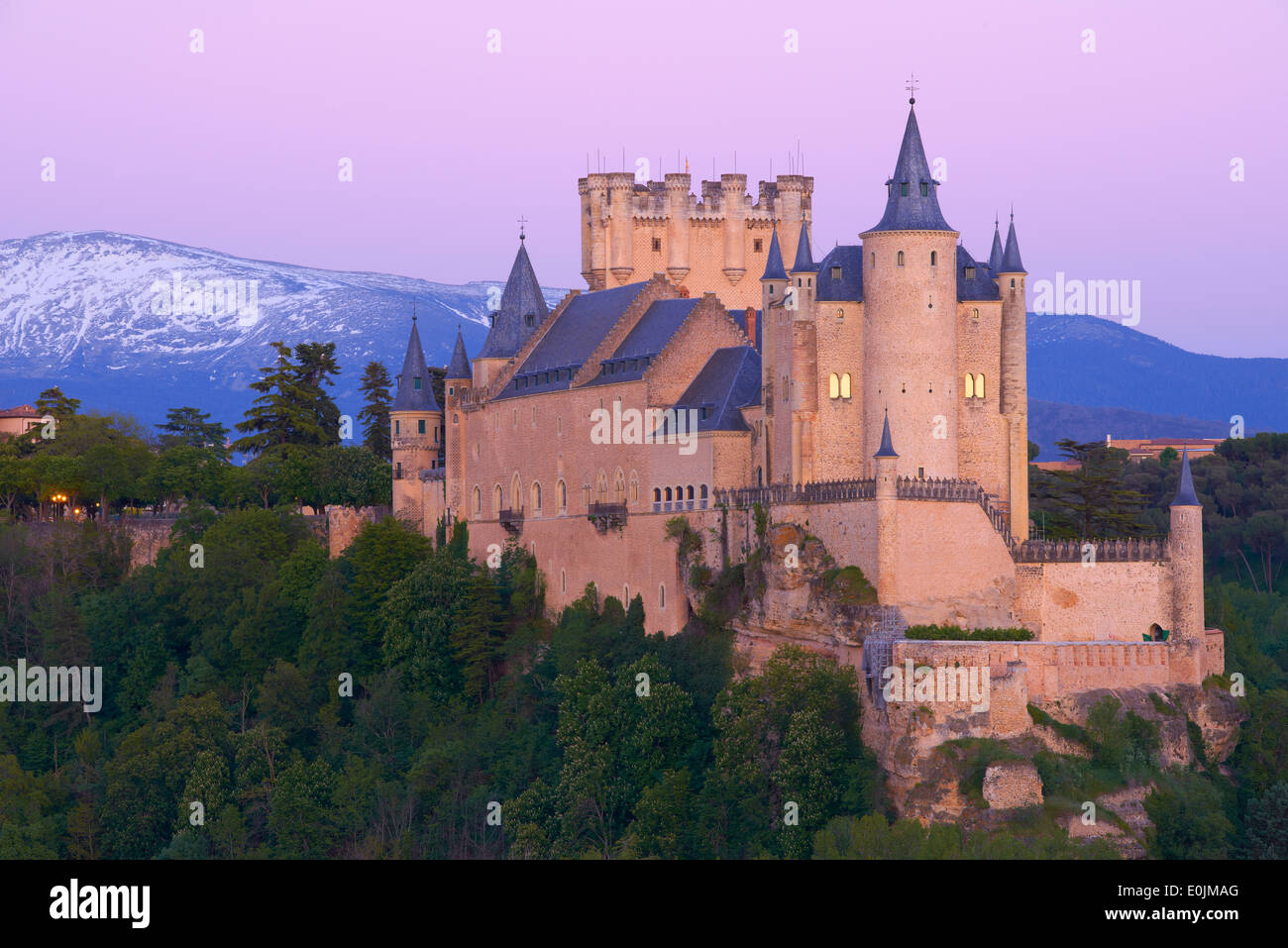 Alcazar, Segovia, Alcazar fortress at Sunset, Castilla-León, Spain - Stock Image
