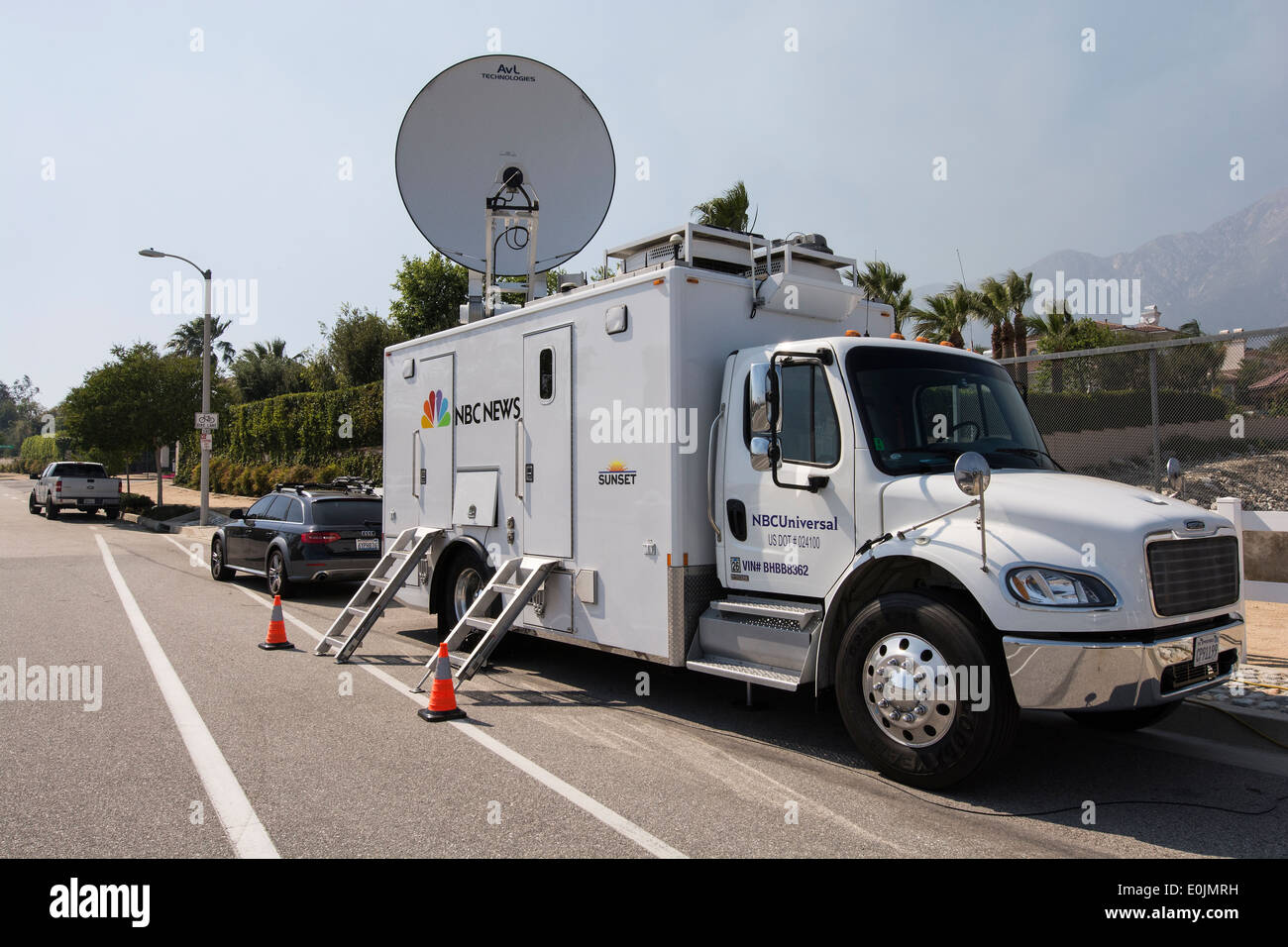 NBC new van at the scene of a fire, Rancho Cucamonga, California - Stock Image
