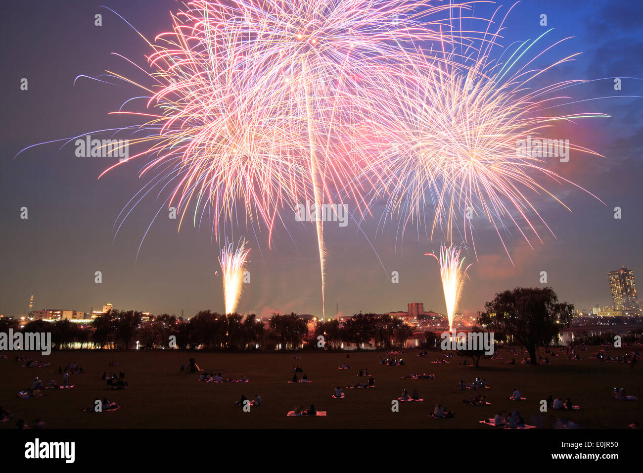Fire works in Tokyo, Japan - Stock Image