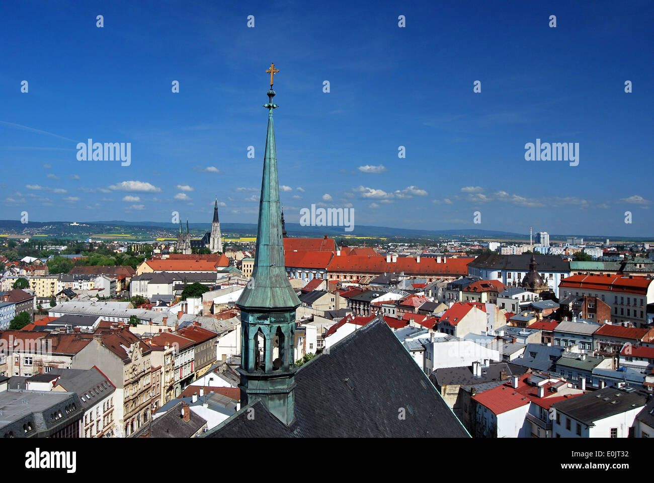 Olomouc city from top of Sv. Moric church - Stock Image