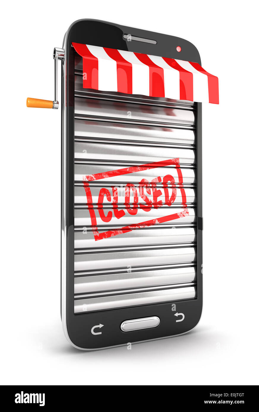 3d closed supermarket smartphone, isolated white background, 3d image Stock Photo
