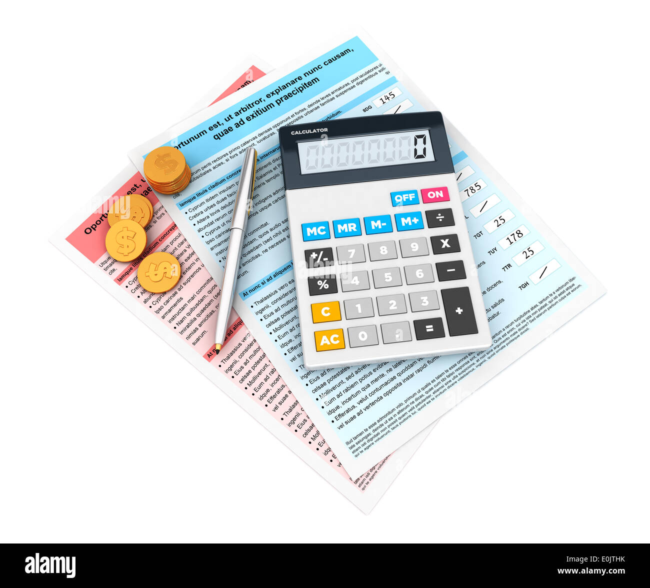3d financial statement with a calculator and currency, isolated white background, 3d image Stock Photo