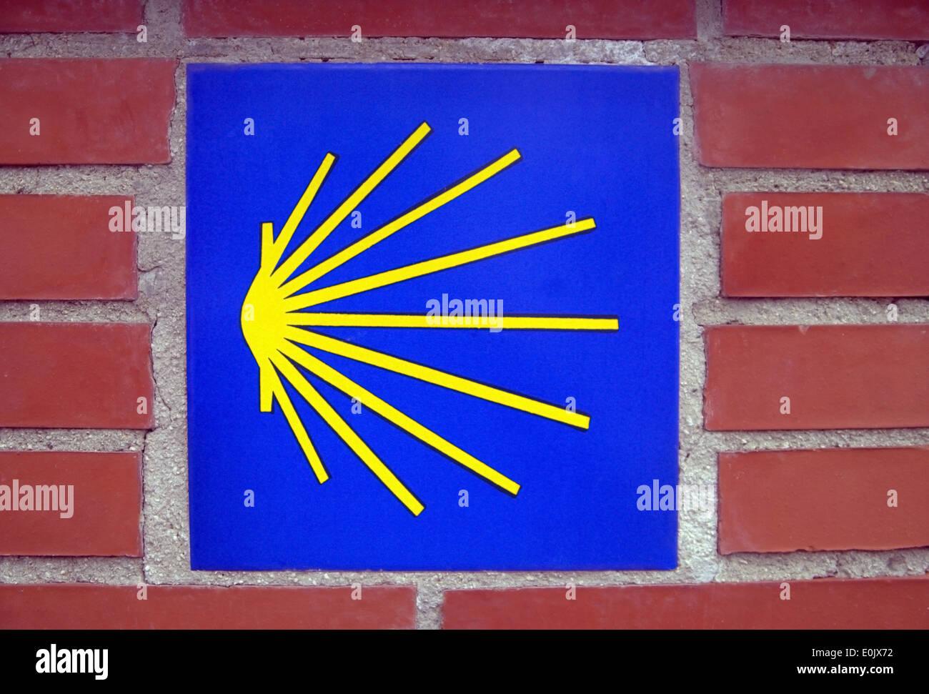 El Camino De Santiago Shell way sign, Spain - Stock Image