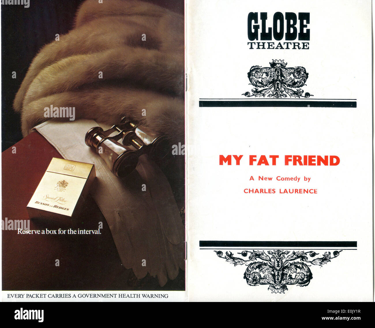 Cigarette advert advertising Benson & Hedges on Globe Theatre programme for 'My Fat Friend' 1972 - Stock Image
