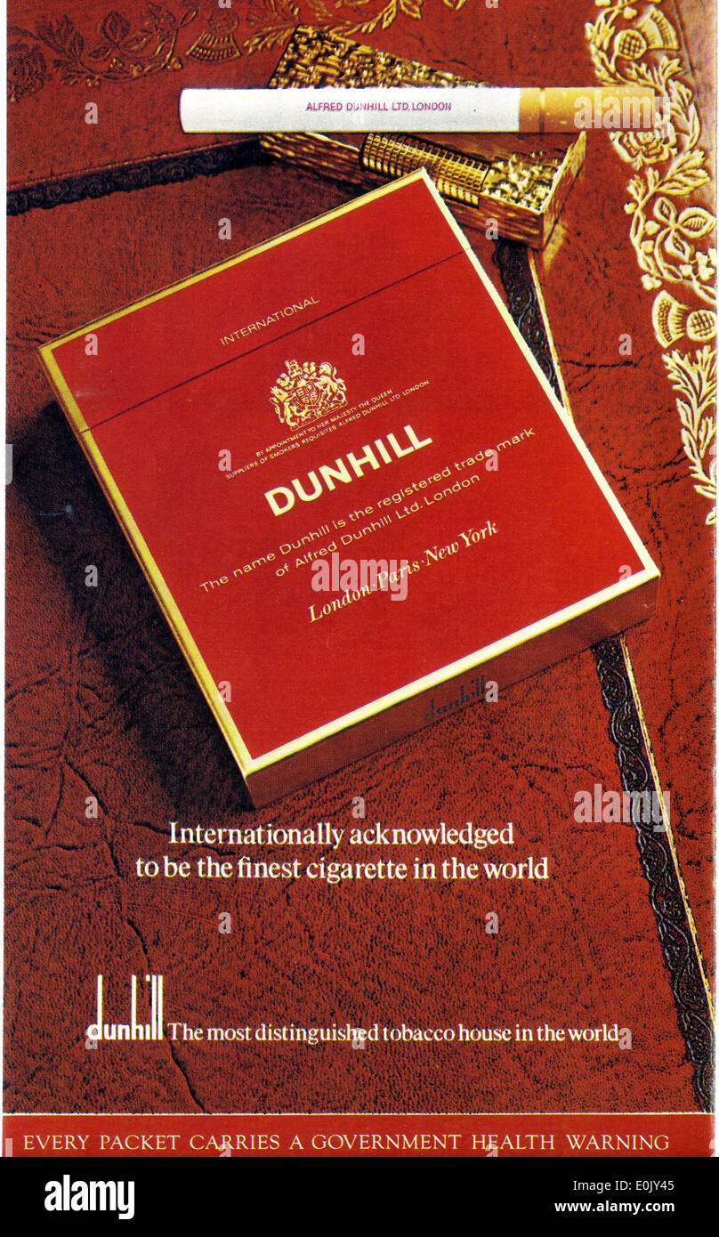 Cigarette advert advertising Dunhill on Garrick Theatre programme for 'Sleuth' 1973 - Stock Image