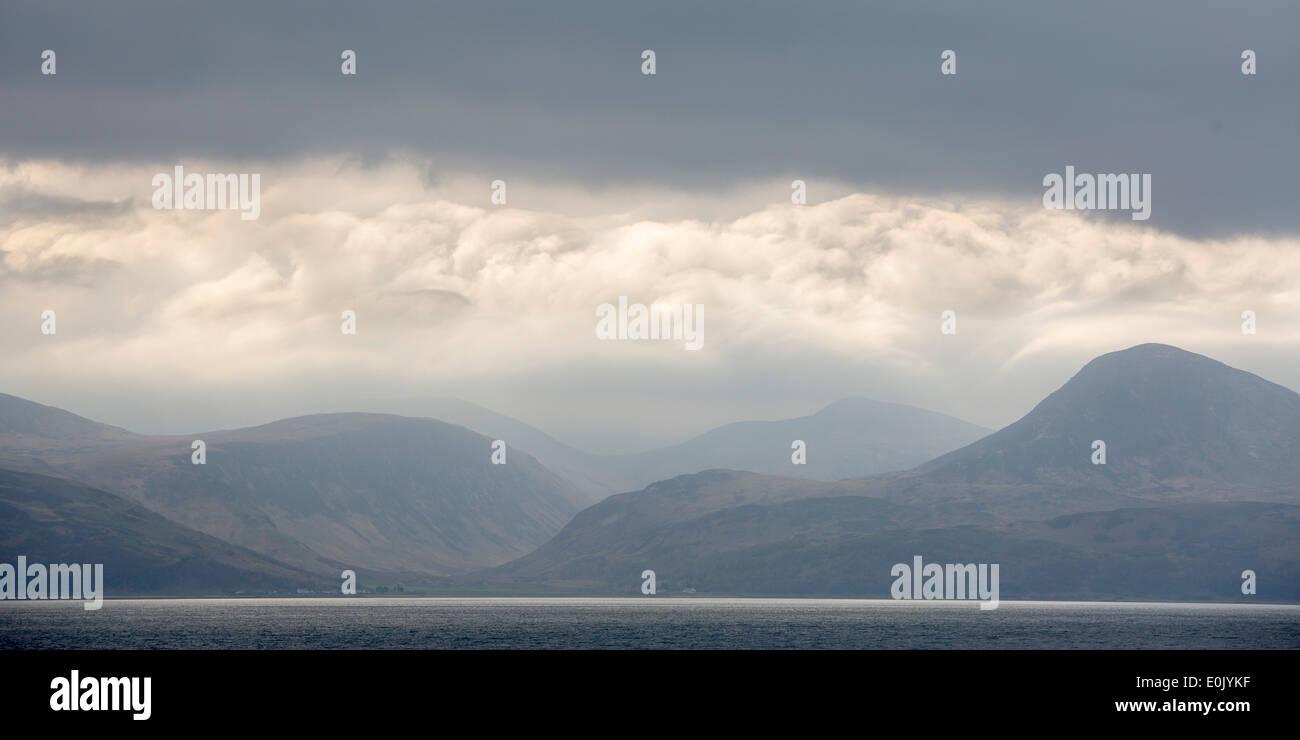 looking towards the isle of Mull, Kintyre peninsular, west coast of Scotland - Stock Image