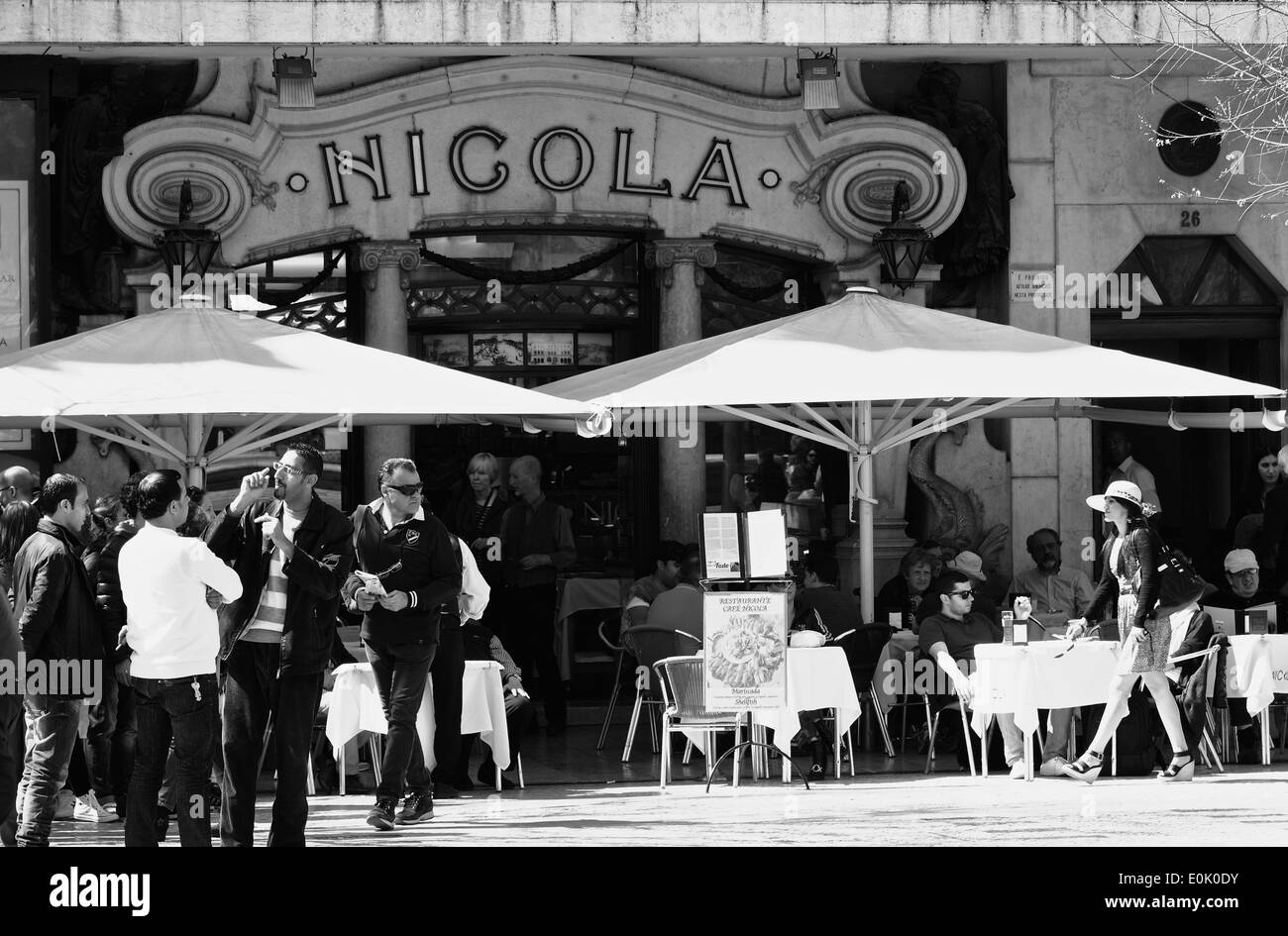 Alfresco cafe culture terrace at busy Art Deco Nicola on Rossio Square (Praca Dom Pedro 1V) Lisbon Portugal western Stock Photo