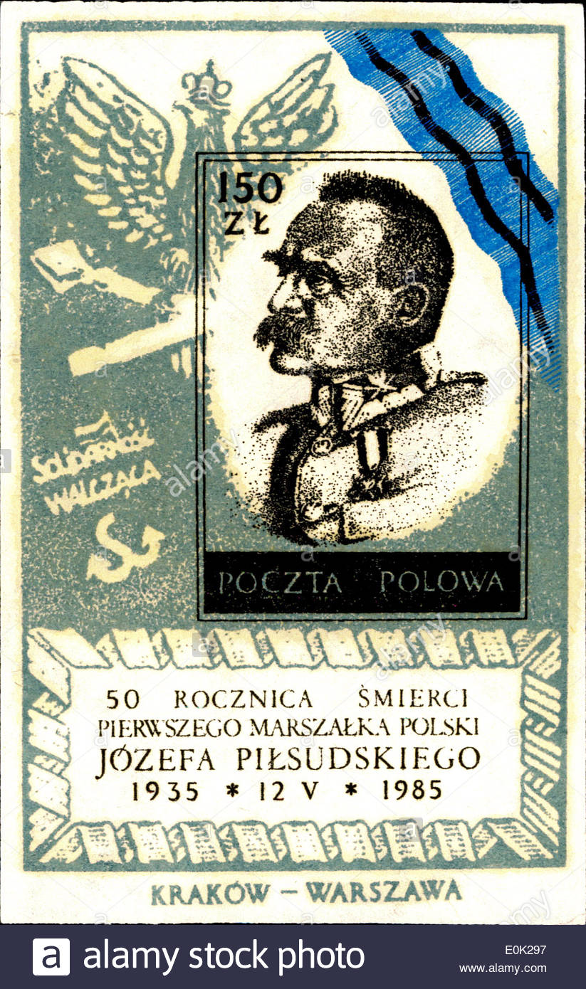 Poland, circa 1984: Polish postage stamp with JOSEPH PILSUDSKI (1867-1935) Polish statesman - Stock Image