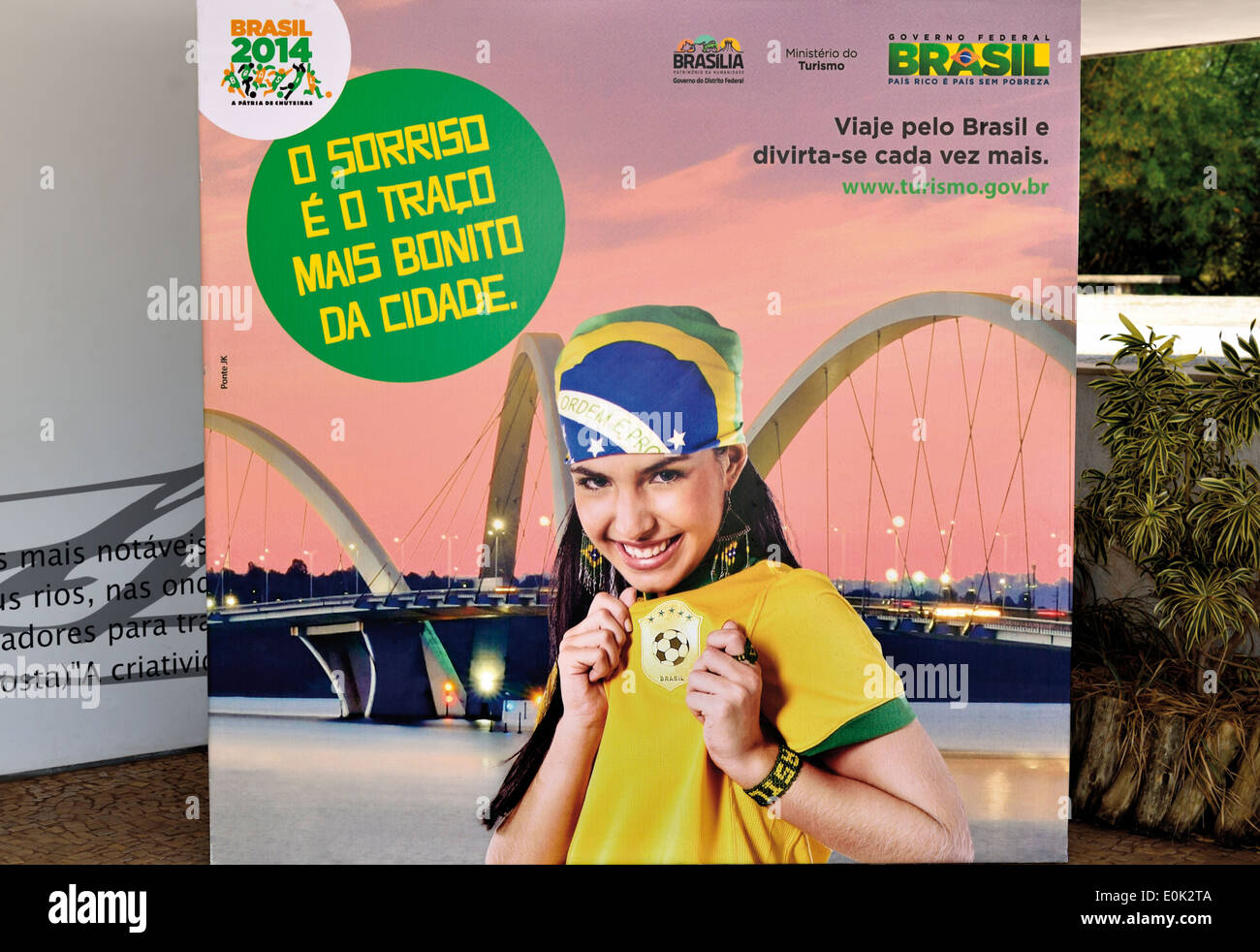 Brazil: Publicity placard for the Soccer World Championship 2014 in Brasilia - Stock Image