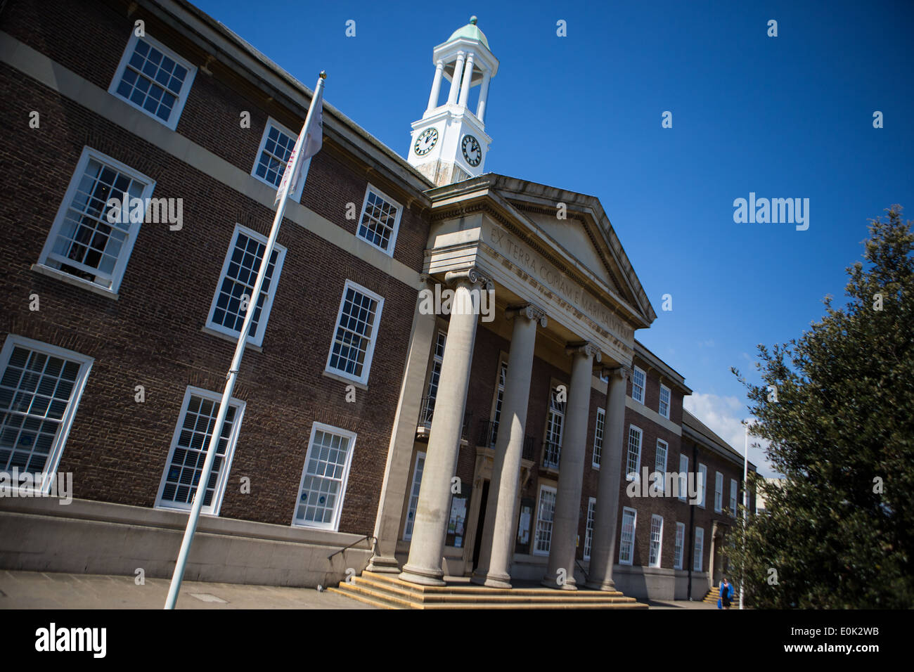 Worthing Town Hall on a sunny day - Stock Image