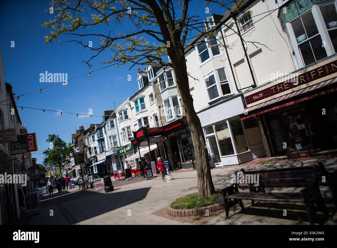 Warwick Street on a sunny day, Worthing, West Sussex, England - Stock Image