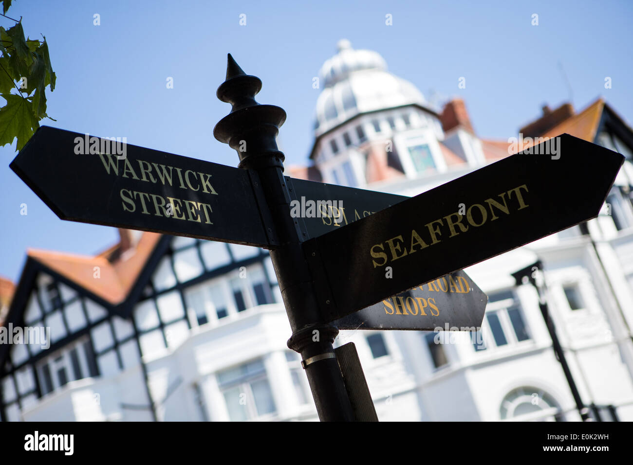 Tourist Information Signpost in Worthing - Stock Image