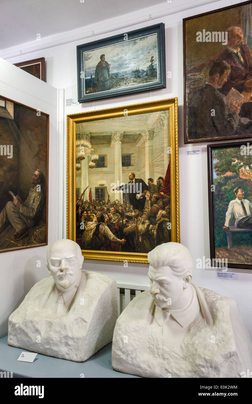 Busts of Lenin and Stalin, Socialist Realism Art Gallery, Zamoyski Palace in Kozlowka near Lublin, Malopolska, Poland - Stock Image