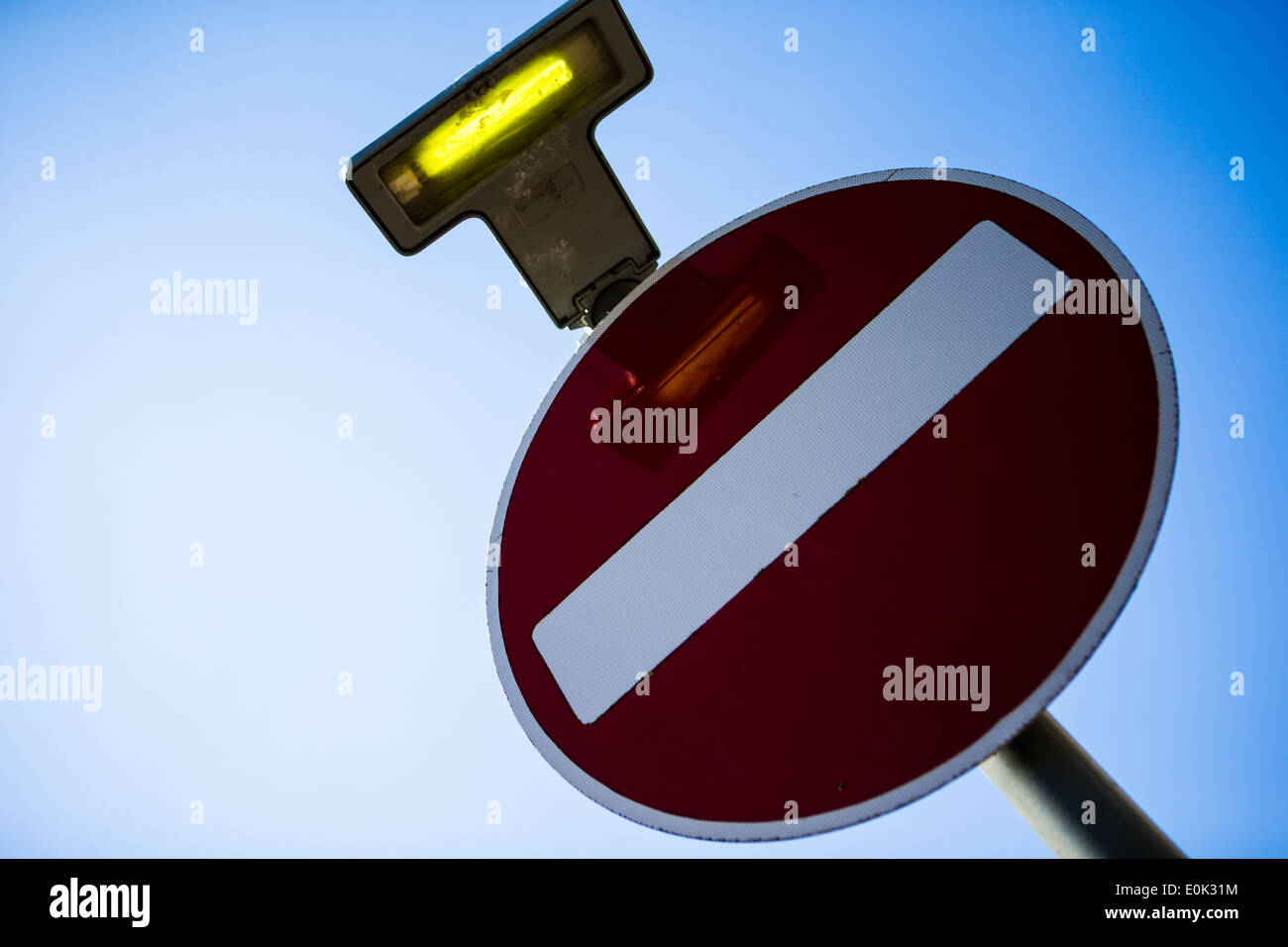 No Entry road traffic sign - Stock Image