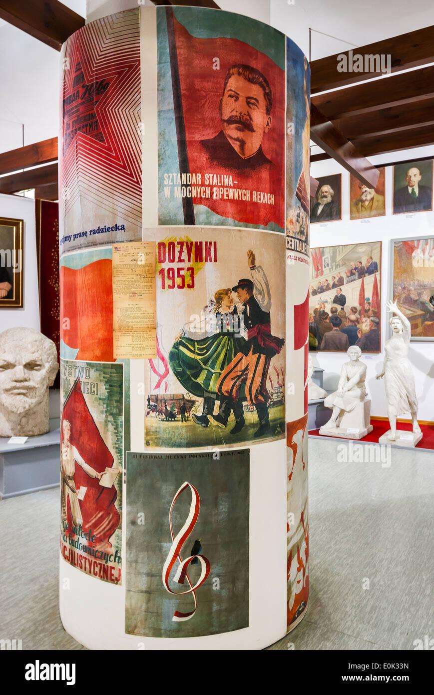 Communist propaganda posters, Socialist Realism Art Gallery, Zamoyski Palace in Kozlowka near Lublin, Malopolska, Poland - Stock Image