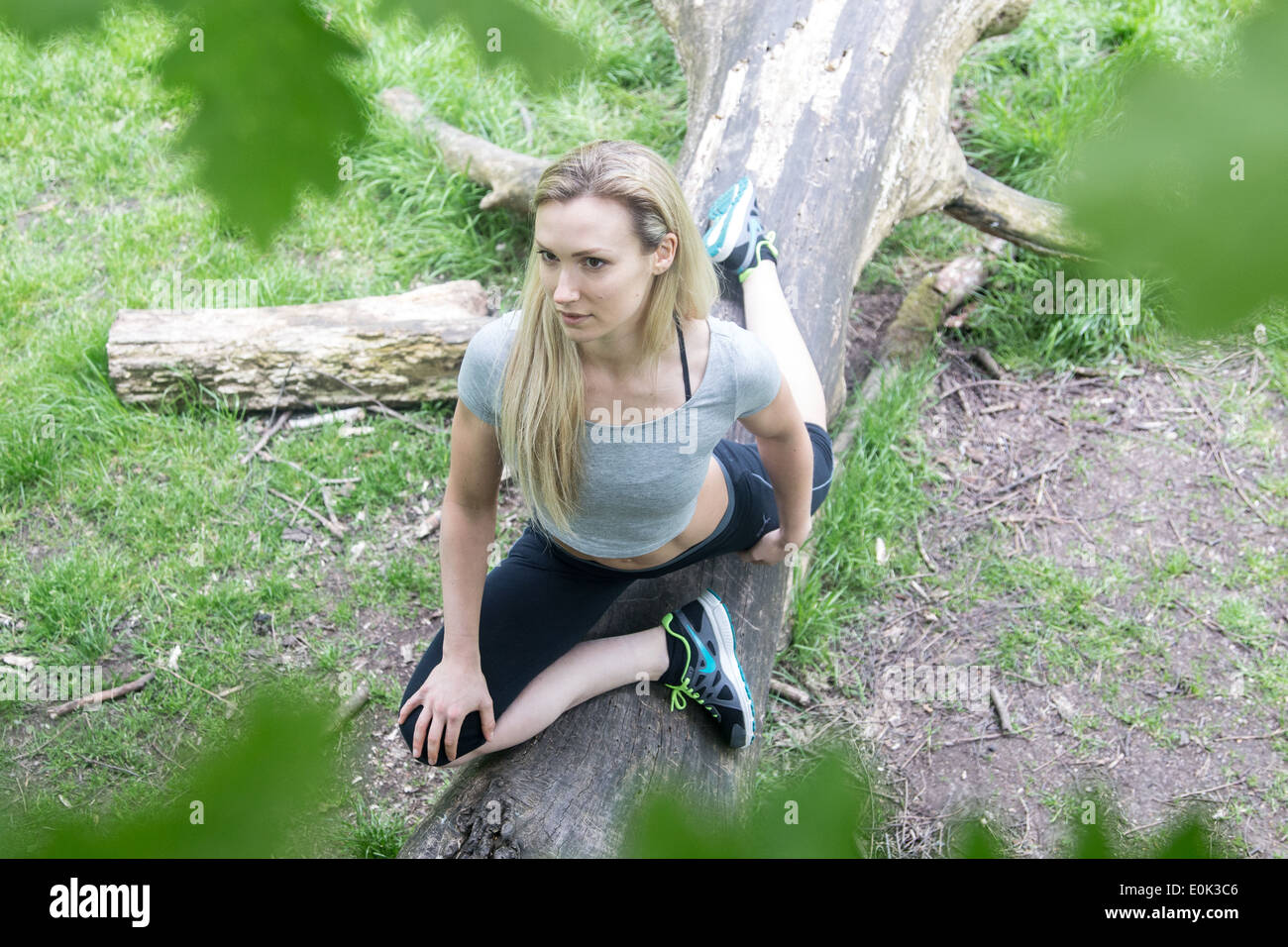 Blonde lady wearing black leggings and a grey crop top practicing yoga on a log on hampstead heath. - Stock Image