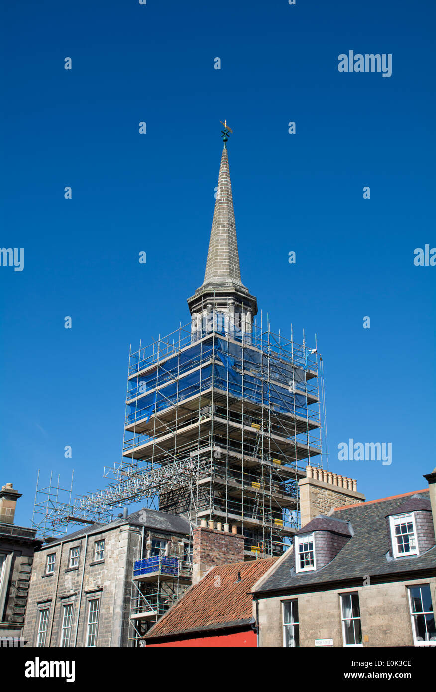 Haddington Town House steeple restoration work and scaffolding. - Stock Image