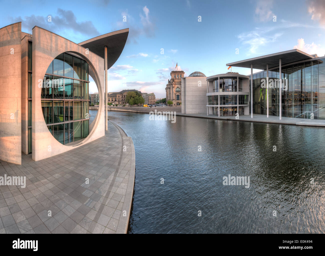 The government building district in Berlin Mitte, the capital of Germany, with the Bundestag behind. - Stock Image