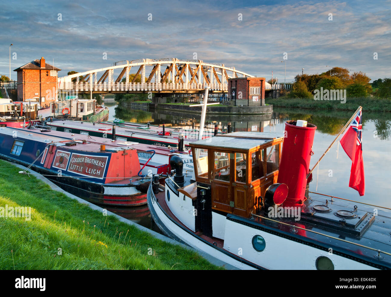 Old Steamboat Moored on the River Weaver Below Acton Bridge, Acton Bridge, Cheshire, England, UK - Stock Image