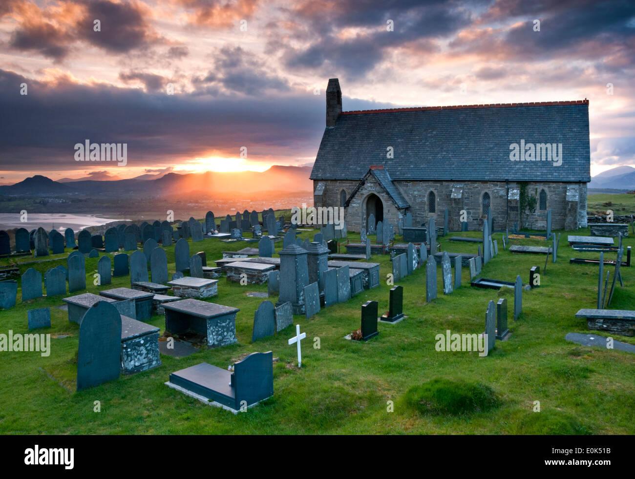 St Tecwyn's Church (Welsh: Eglwys Tecwyn Sant), Llandecwyn, Gwynedd, Wales, UK - Stock Image
