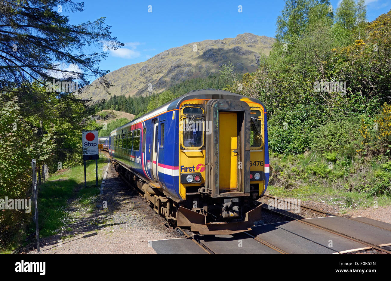 Scotrail Class 156 DMU leaving Glenfinnan Station Highland Scotland destined for Mallaig with signal left. - Stock Image