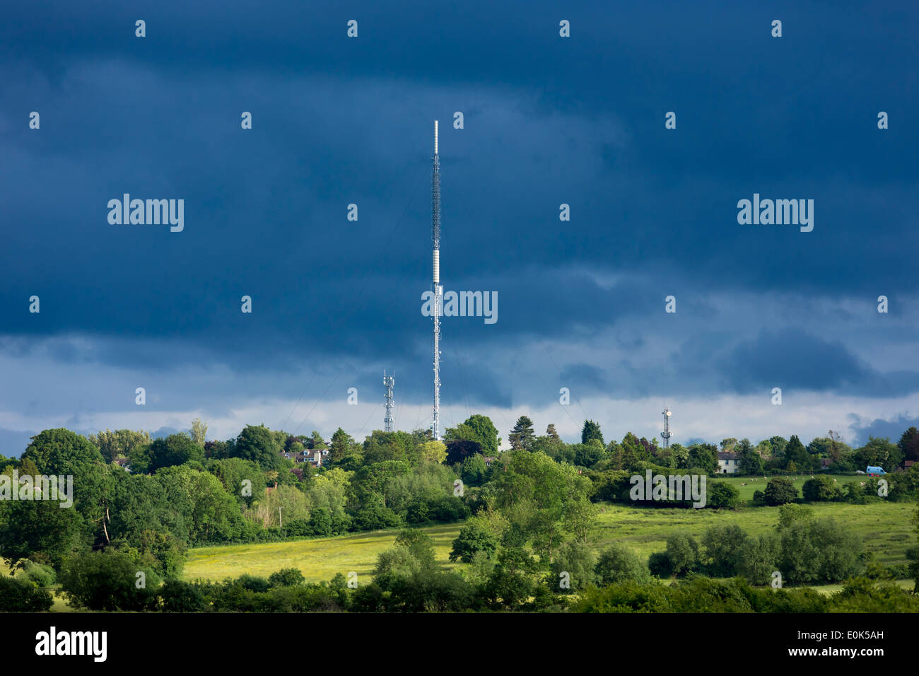 Television and Radio transmitter masts at Beckley in Oxfordshire by Otmoor, England, UK - Stock Image