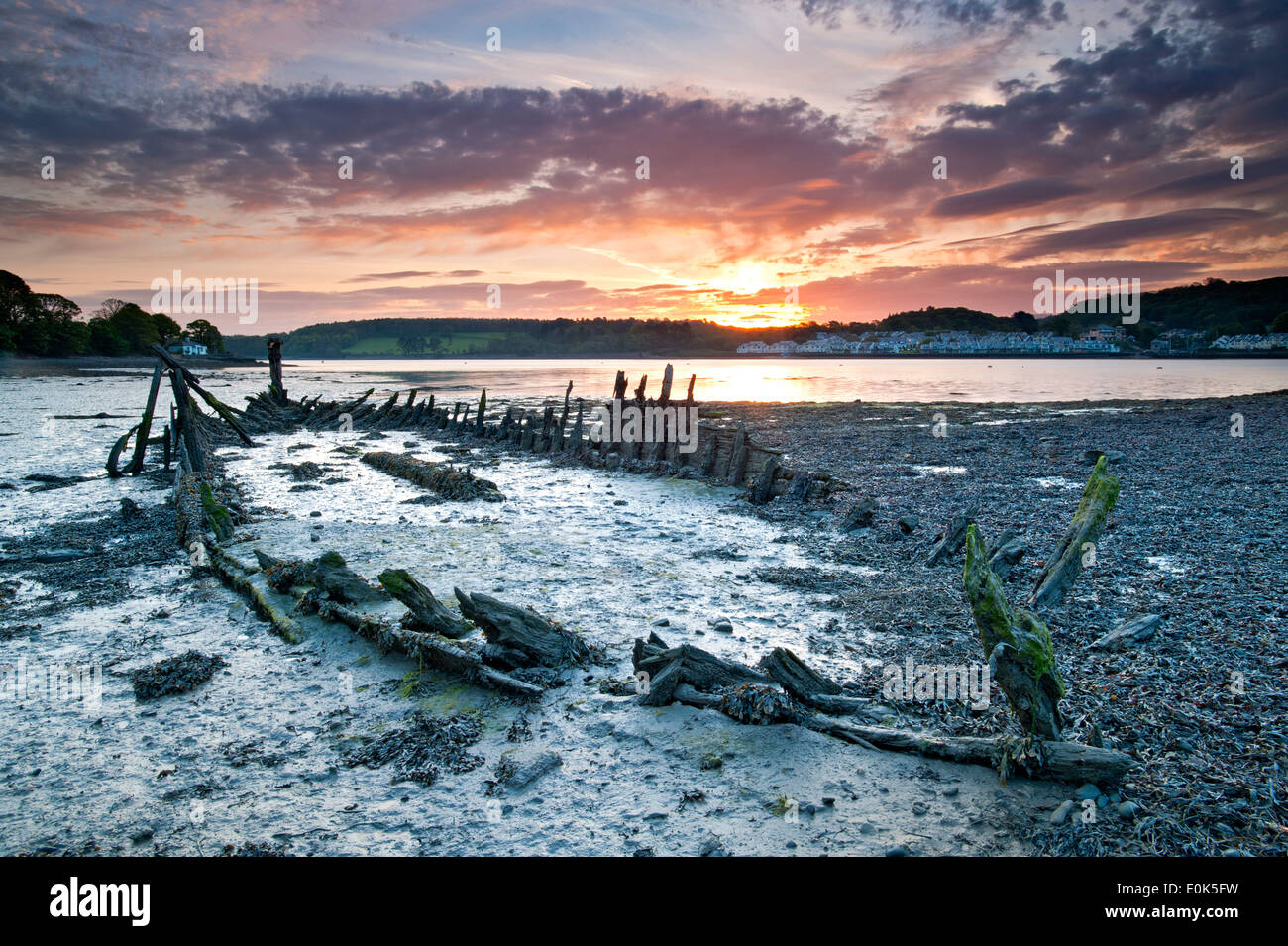 Wreck of The Seven Sisters and the Menai Straits at Dawn, Moel y don, Anglesey, North Wales, UK - Stock Image